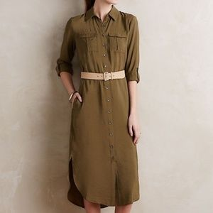 Anthropologie Maeve Midi Olive Shirt Dress Size 10